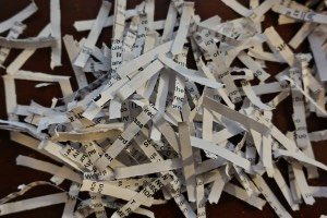 paper strips from a strip shredder