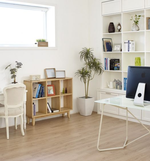 home office with wall organization shelving