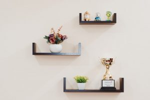 shelves on an office wall