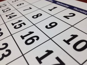 closeup of a wall calendar