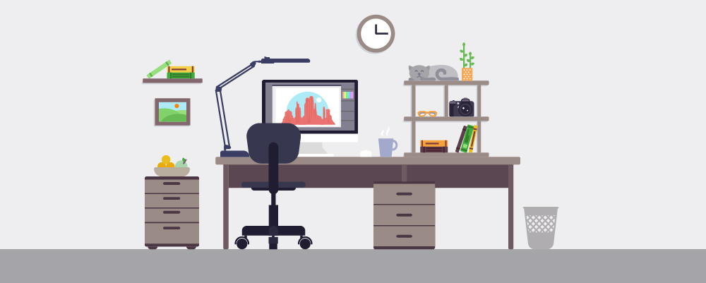 home office desk setup illustration