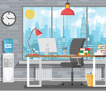 home office space illustration