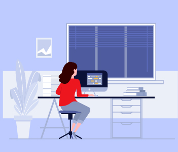 illustration of woman at desk working on computer
