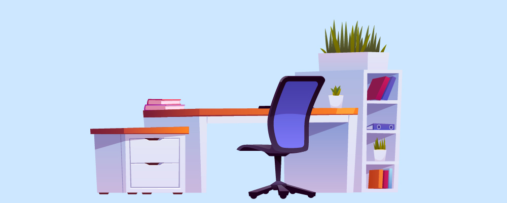 office desk and chair illustration