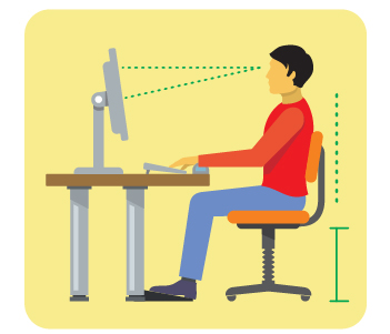 office desk ergonomics an posture illustration