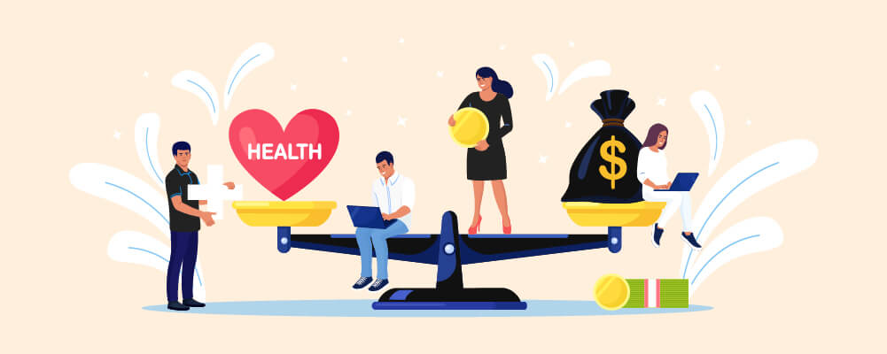 People achieving a work-life balance on a balance scale