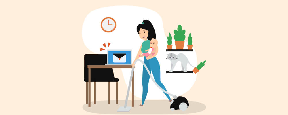 A mother somehow managing a work-life balance