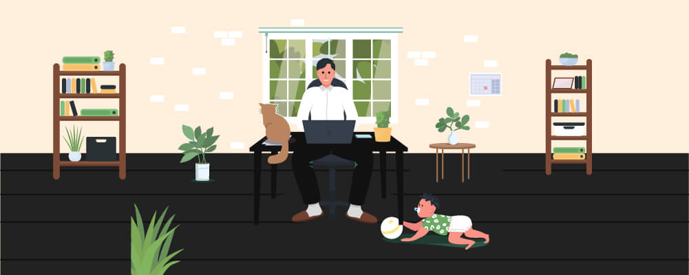 Man maintaining  Work-Life Balance by working and playing with his baby boy